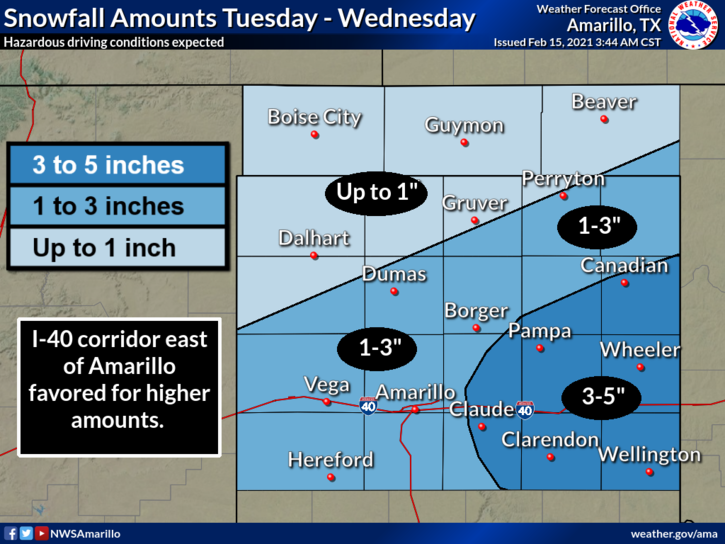 Snow Predictions for Tuesday and Wednesday